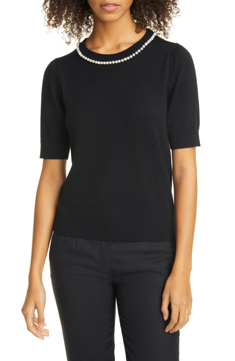 KATE SPADE NEW YORK imitation pearl and crystal pavé detail sweater, Main, color, 001