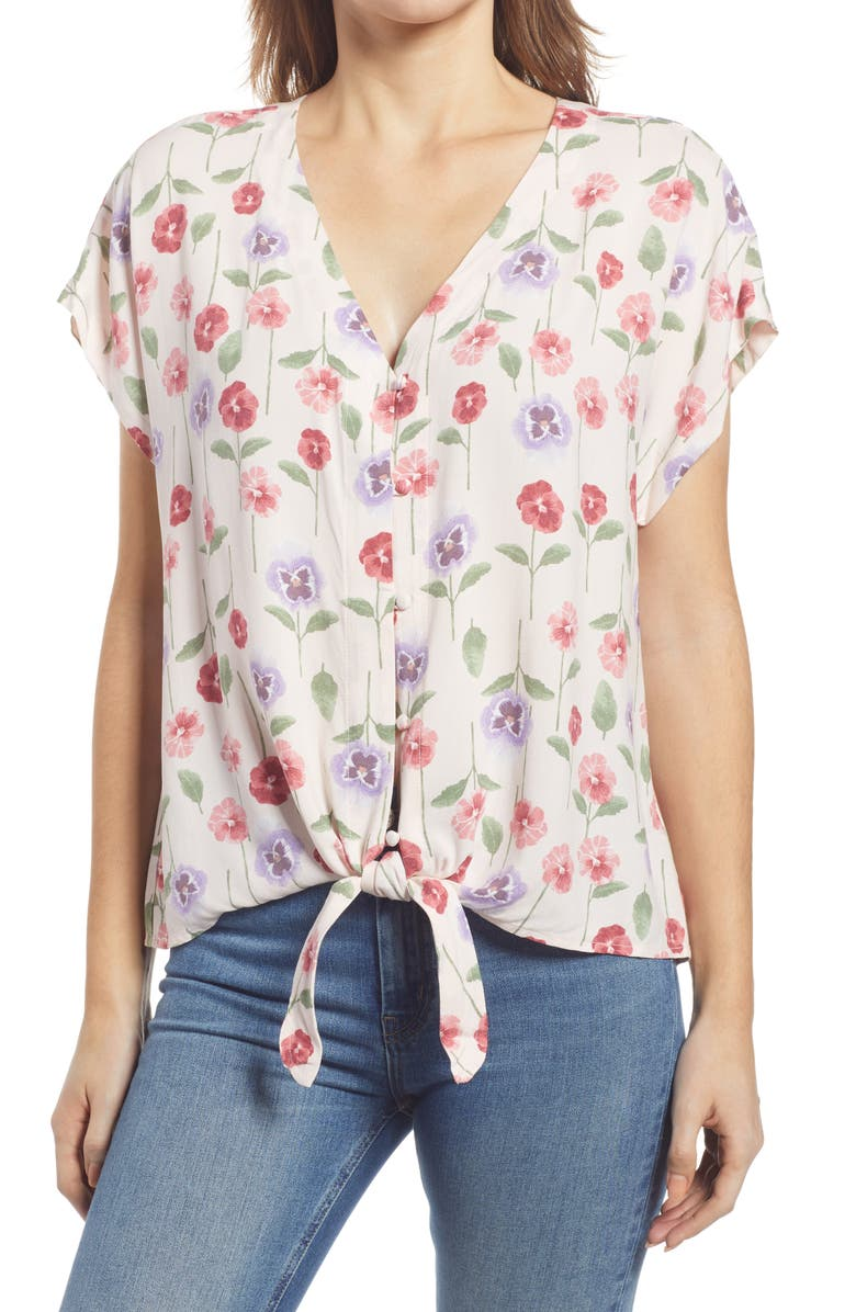 BOBEAU Floral Print Tie Front Top, Main, color, PINK PANSY