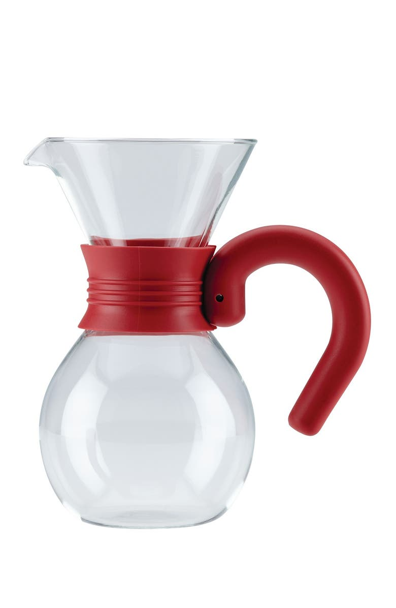 BONJOUR Coffee Pour Over 20 oz. Red Brewer & Pitcher Glass, Main, color, GLASS/RED HANDLE