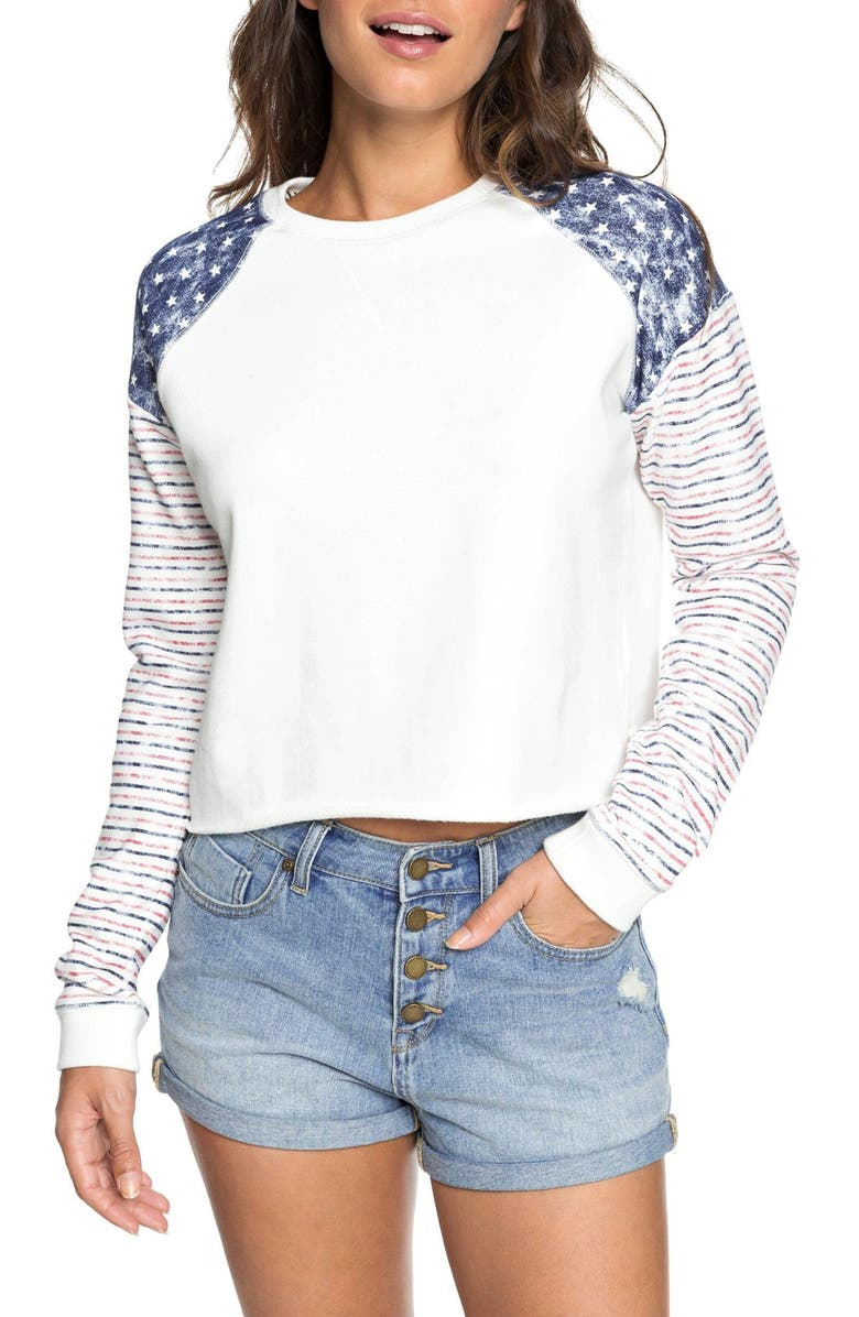 ROXY Just By Chance Sweatshirt, Main, color, MARSHMALLOW