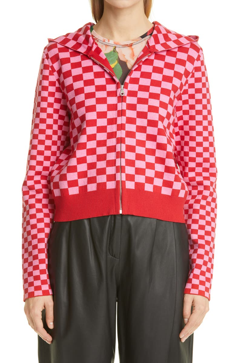 MOLLY GODDARD Owen Checkerboard Jacquard Sweater Hoodie, Main, color, PINK/ RED CHECKERBOARD