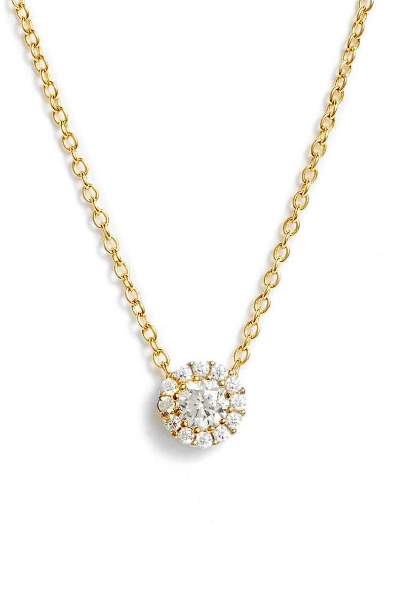 NORDSTROM Cubic Zirconia Halo Pendant Necklace, Main, color, Gold