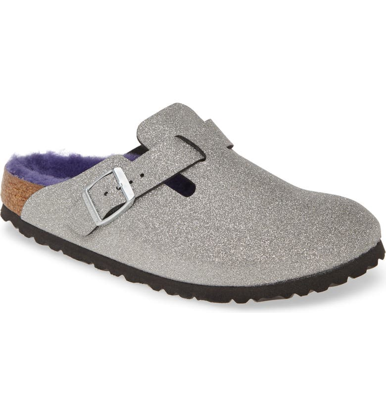 BIRKENSTOCK Boston Genuine Shearling Giltter Dust Clog, Main, color, 040