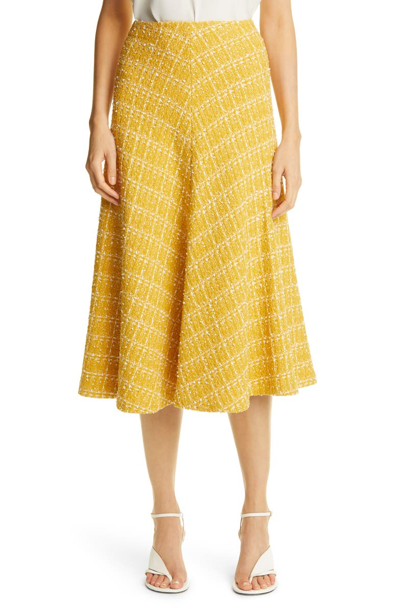 ST. JOHN COLLECTION Textured Knit A-Line Skirt, Main, color, OCHRE