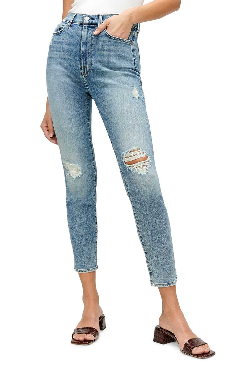 7 FOR ALL MANKIND<SUP>®</SUP> The High Waist Ankle Skinny Jeans, Main, color, SLV1
