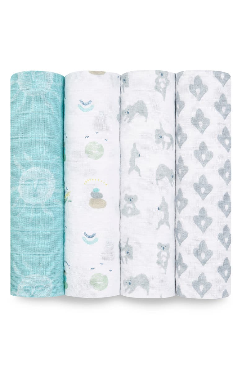 ADEN + ANAIS 4-Pack Classic Swaddling Cloths, Main, color, NOW AND ZEN