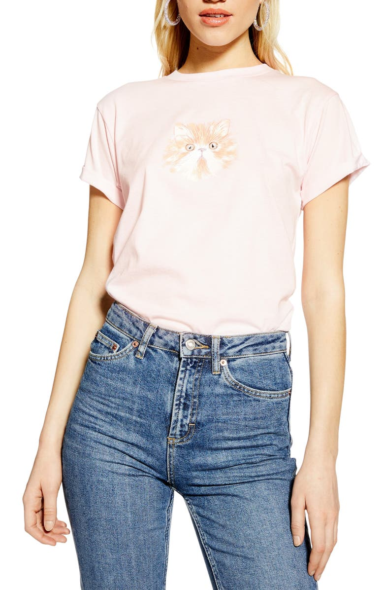 TOPSHOP Cat Graphic Tee, Main, color, 650