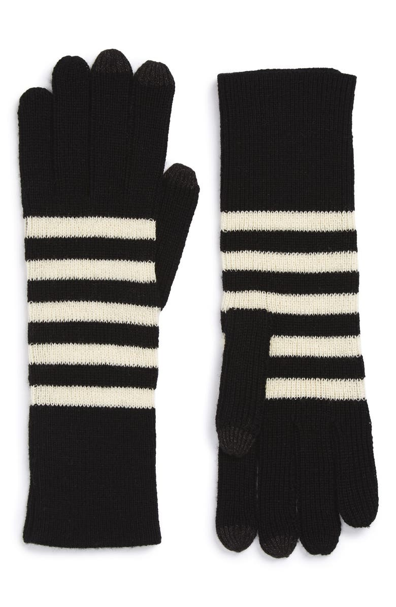 MARC JACOBS Striped Gloves, Main, color, 001