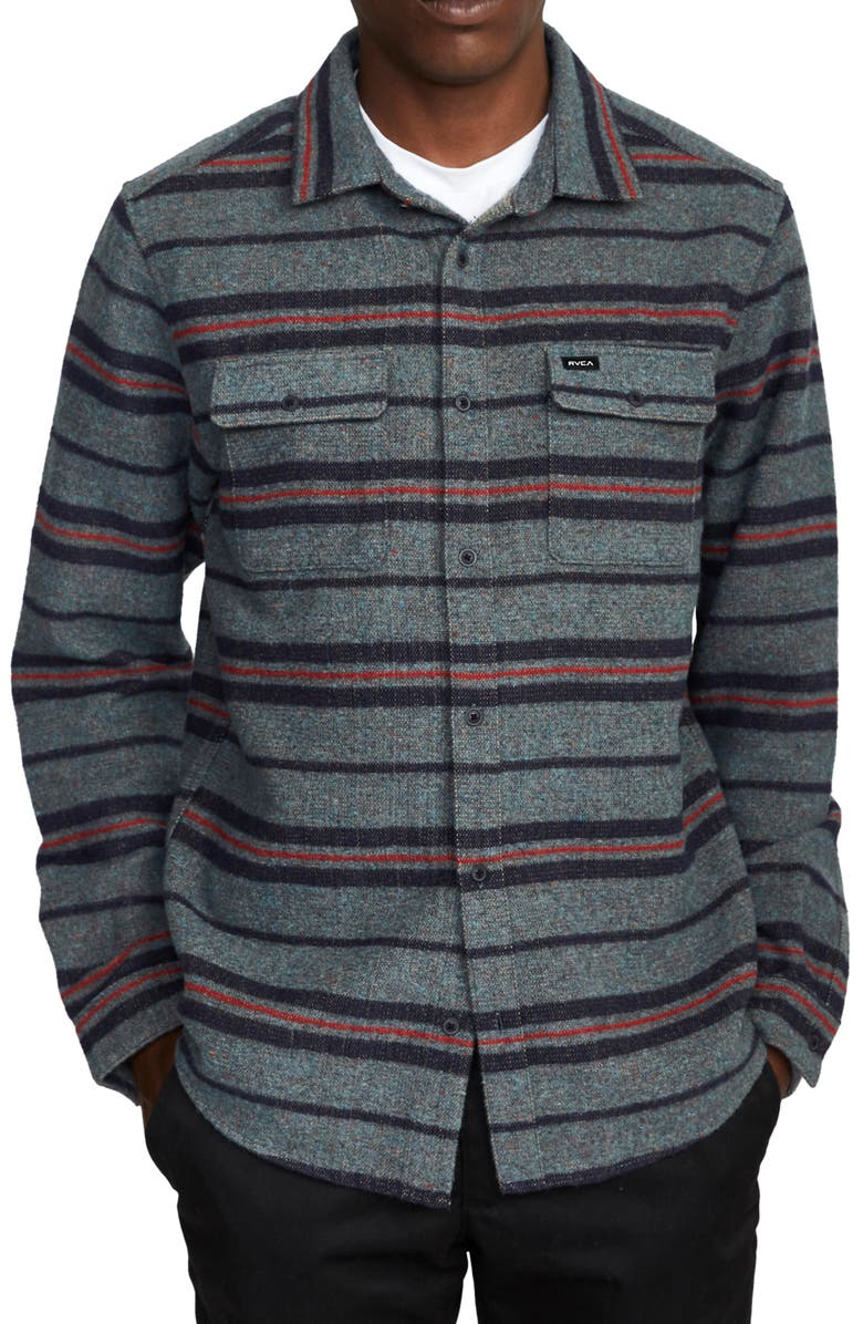 RVCA Blanket Stripe Flannel Button-Up Shirt, Main, color, NAVY