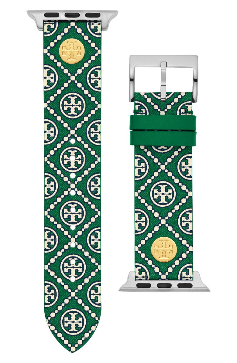 TORY BURCH The Monogram Leather Strap for Apple Watch<sup>®</sup>, 38mm/40mm, Main, color, GREEN