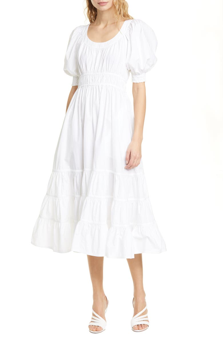 ULLA JOHNSON Juniper Puff Sleeve Midi Dress, Main, color, BLANC