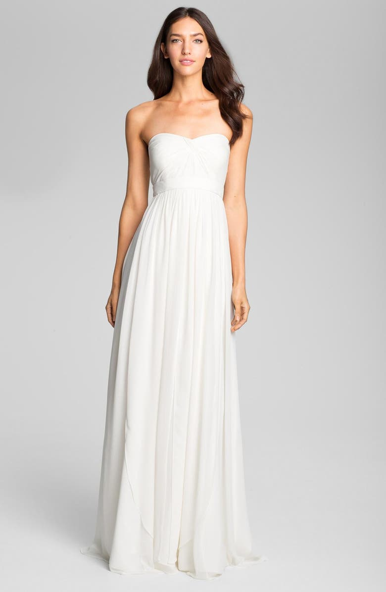JENNY YOO Monarch Sweetheart Neckline Layered Chiffon Gown, Main, color, WINTER WHITE