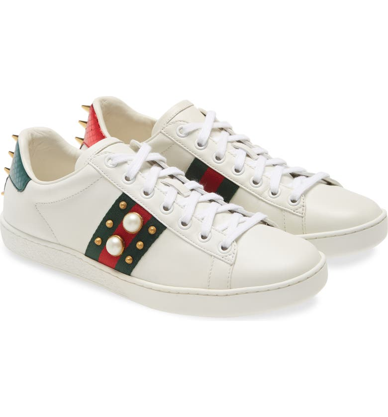 GUCCI New Ace Low Top Sneaker, Main, color, WHITE / WHITE