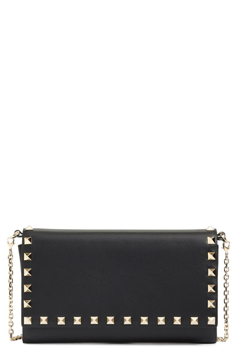 VALENTINO 'Rockstud' Calfskin Leather Wallet on a Chain, Main, color, 001