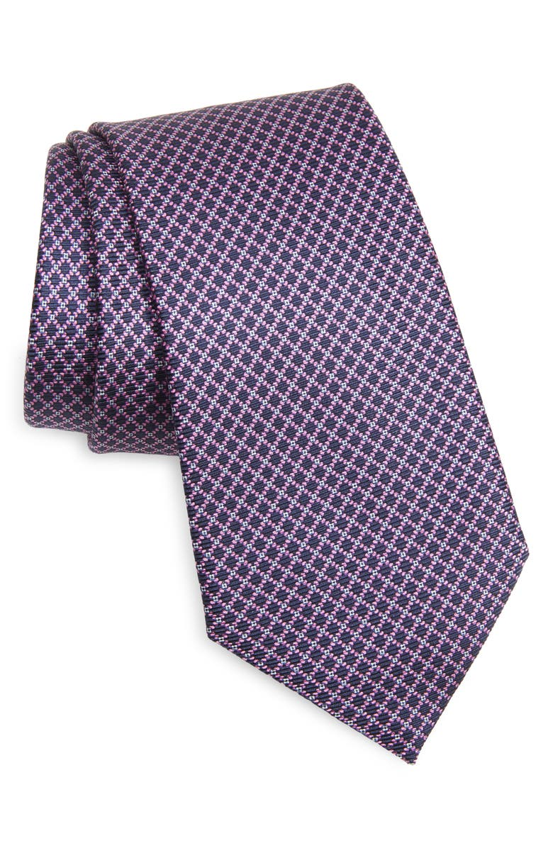 ERMENEGILDO ZEGNA Quadri Colorati Silk Tie, Main, color, MICRO VIOLET