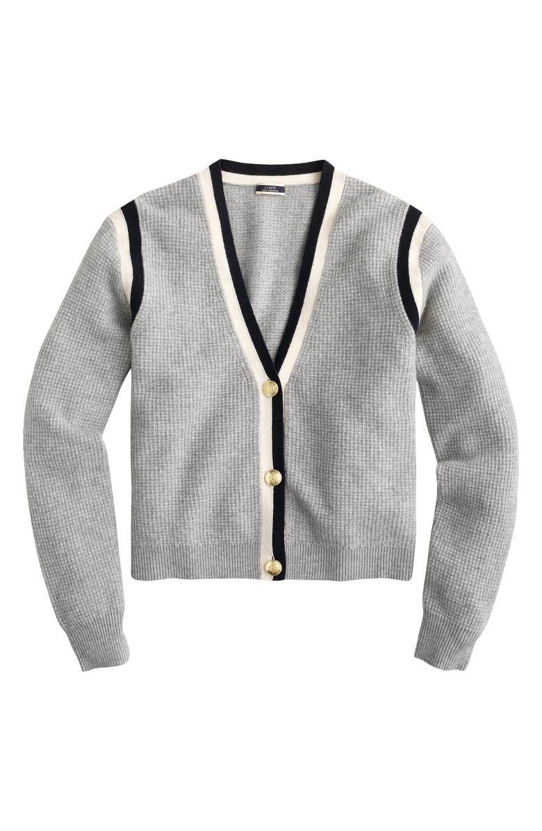 J.CREW Cashmere Waffle Knit Cardigan Sweater, Main, color, HTHR GREY INK NAVY MUSLIN