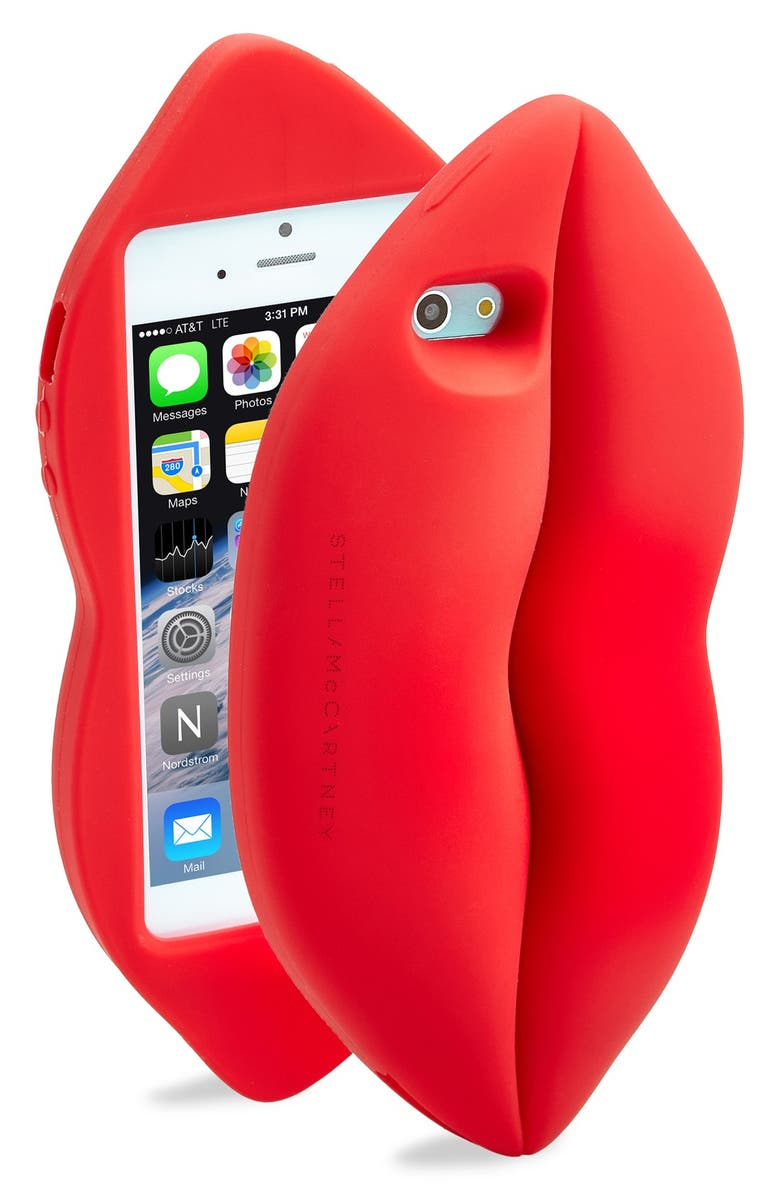 STELLA MCCARTNEY 'Lips' iPhone 5 Case, Main, color, RED