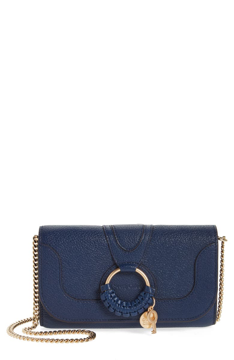 SEE BY CHLOÉ Hana Large Leather Wallet on a Chain, Main, color, ROYAL NAVY