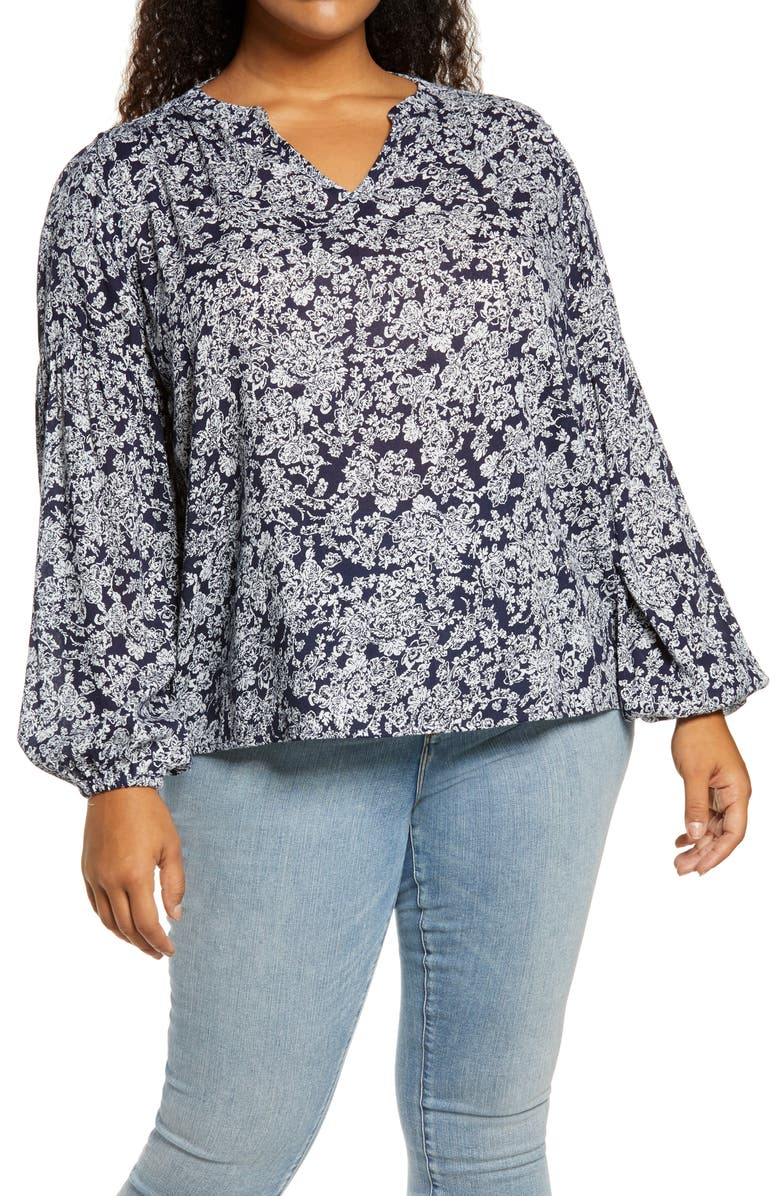 CASLON<SUP>®</SUP> Print V-Neck Top, Main, color, 410