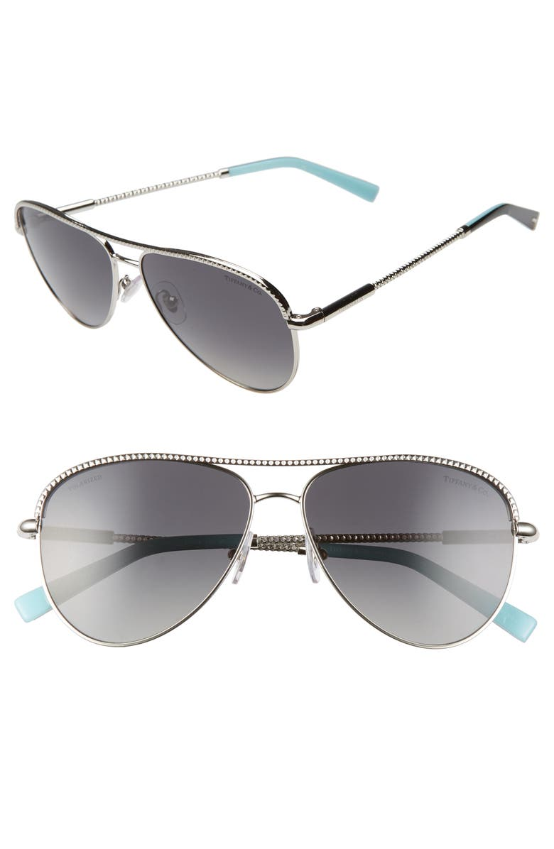 TIFFANY & CO. 57mm Polarized Aviator Sunglasses, Main, color, 040