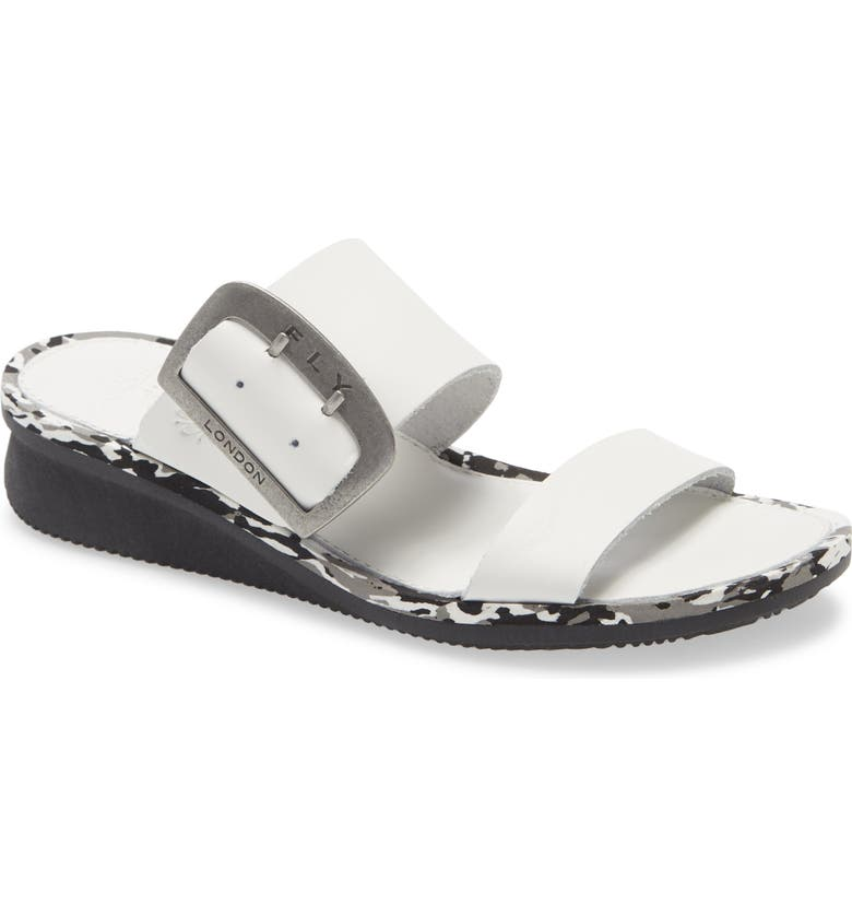 FLY LONDON Cape Slide Sandal, Main, color, OFF WHITE BROOKLYN LEATHER
