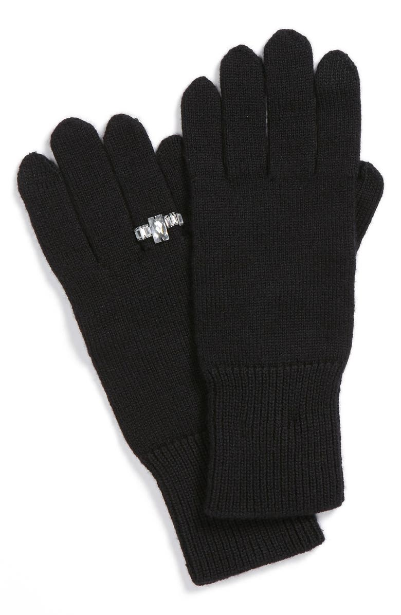 KATE SPADE NEW YORK 'ring' wool blend gloves, Main, color, 001