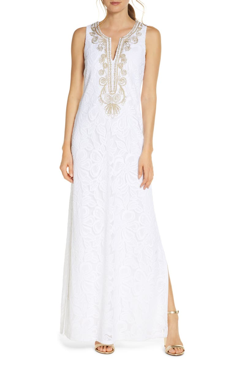 LILLY PULITZER<SUP>®</SUP> Carlotta Maxi Dress, Main, color, RES WHITE WLDFLWR SR LACE