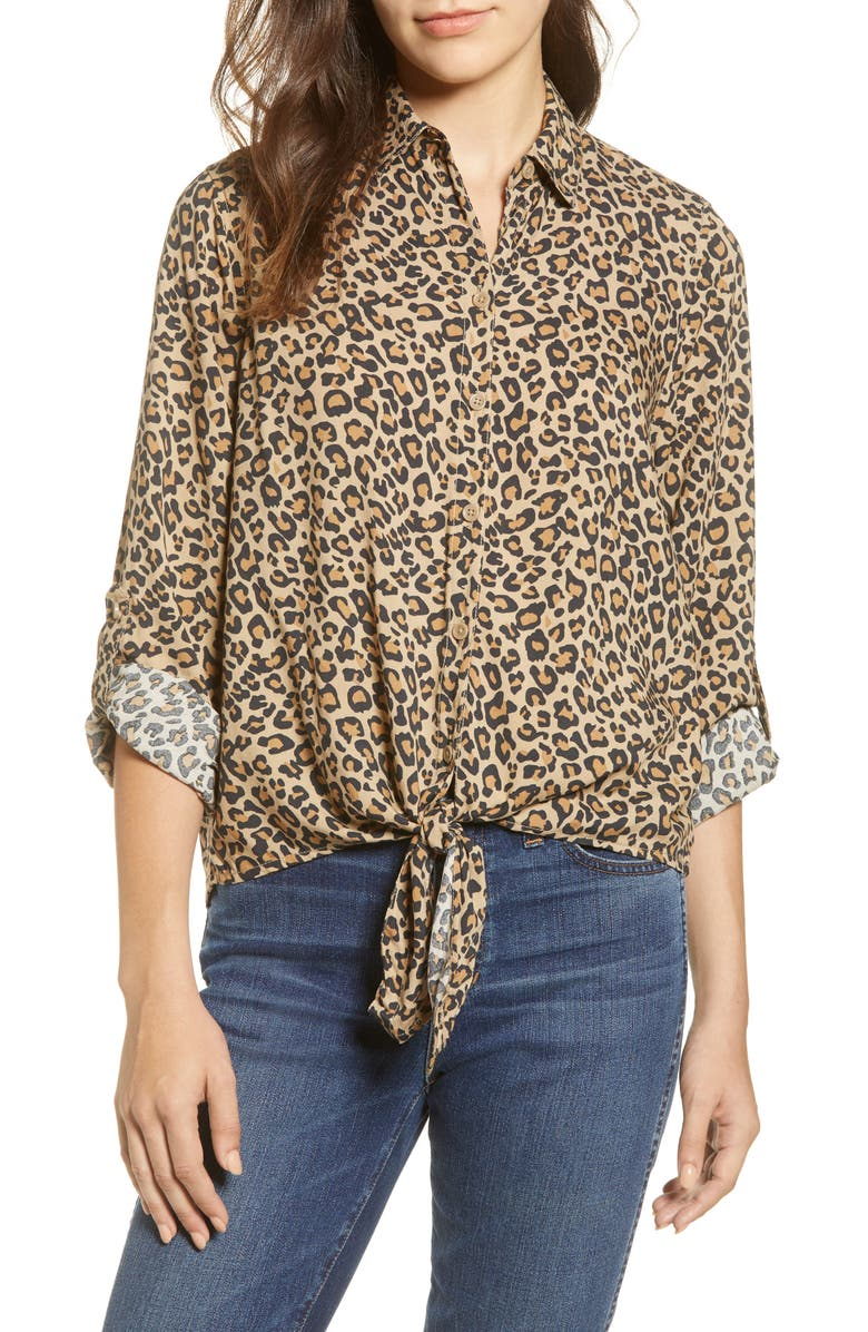 BEACHLUNCHLOUNGE Yumi Leopard Print Tie Front Rayon Top, Main, color, 206