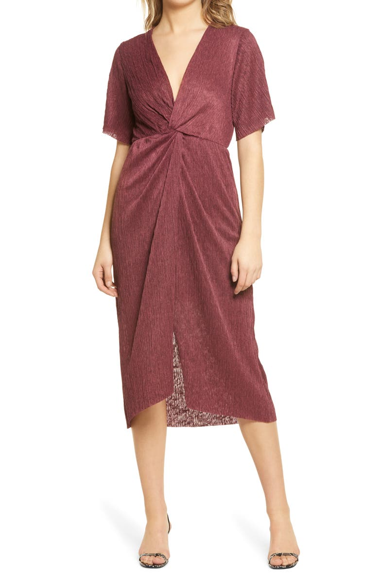 ALL IN FAVOR Dolman Plissé Midi Dress, Main, color, TAWNY PORT