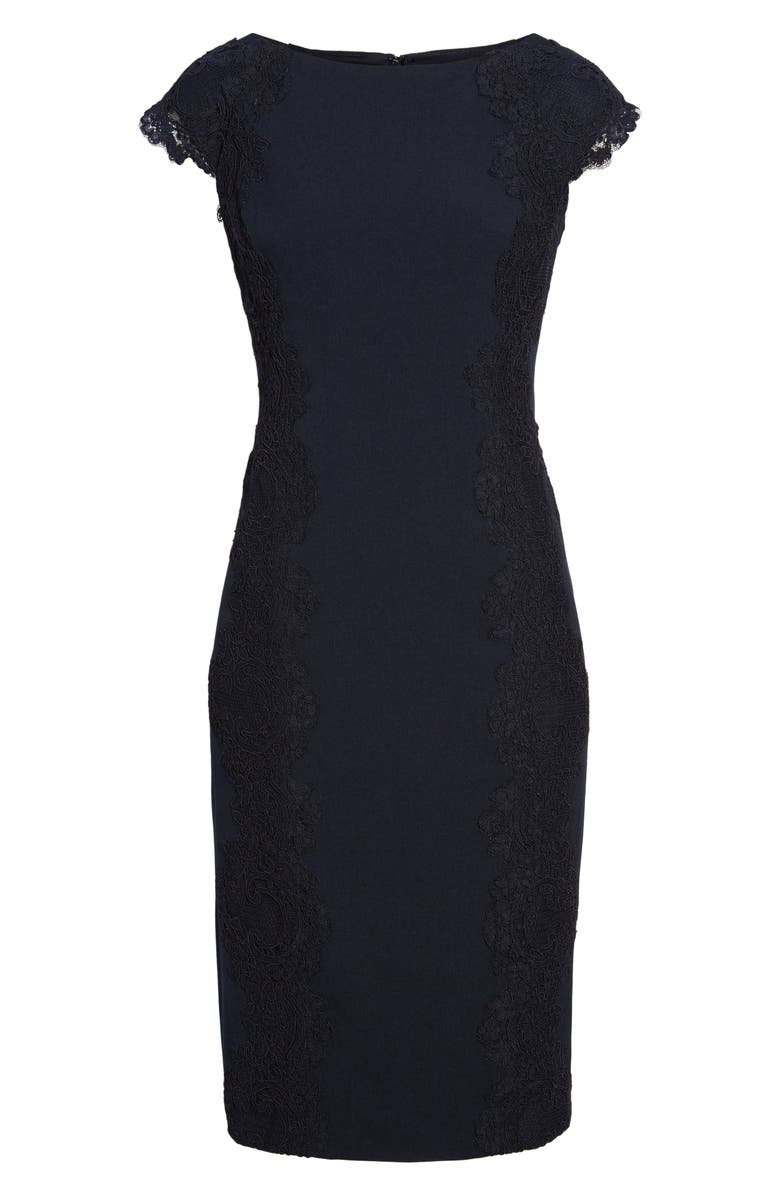 MAGGY LONDON Lace Detail Crepe Sheath Dress, Main, color, 001