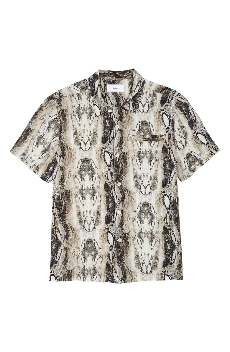 OVADIA Python Print Button-Up Shirt, Main, color, 070