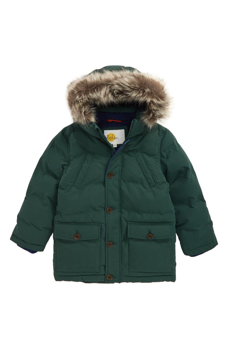 MINI BODEN Waterproof Puffer Parka with Faux Fur Trim, Main, color, 304