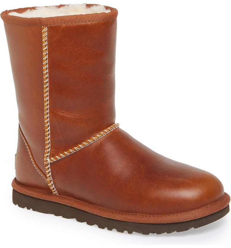 UGG<SUP>®</SUP> Australia 'Classic Short' Leather Water Resistant Boot, Main, color, CHESTNUT