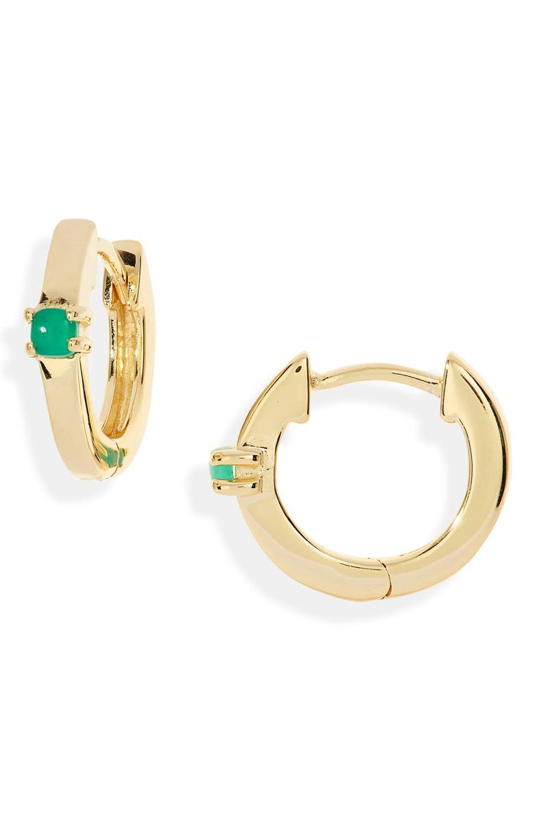 MADEWELL Delicate Collection Demi Fine Green Agate Huggie Mini Hoop Earrings, Main, color, GREEN AGATE