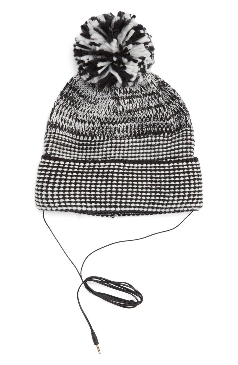 REBECCA MINKOFF Mouline Pom Beanie with Headphones, Main, color, 001