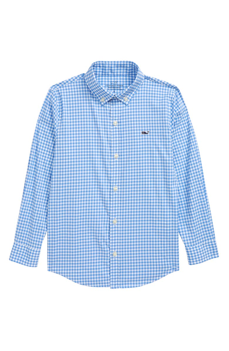 VINEYARD VINES Kids' Gingham Performance Whale Button-Down Shirt, Main, color, CORNFLOWER