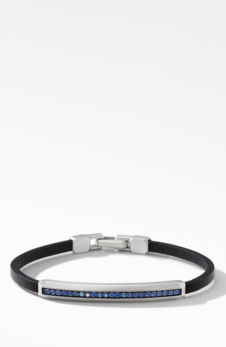 DAVID YURMAN Pavé Leather ID Bracelet with Sapphires, Main, color, SILVER/ SAPPHIRE