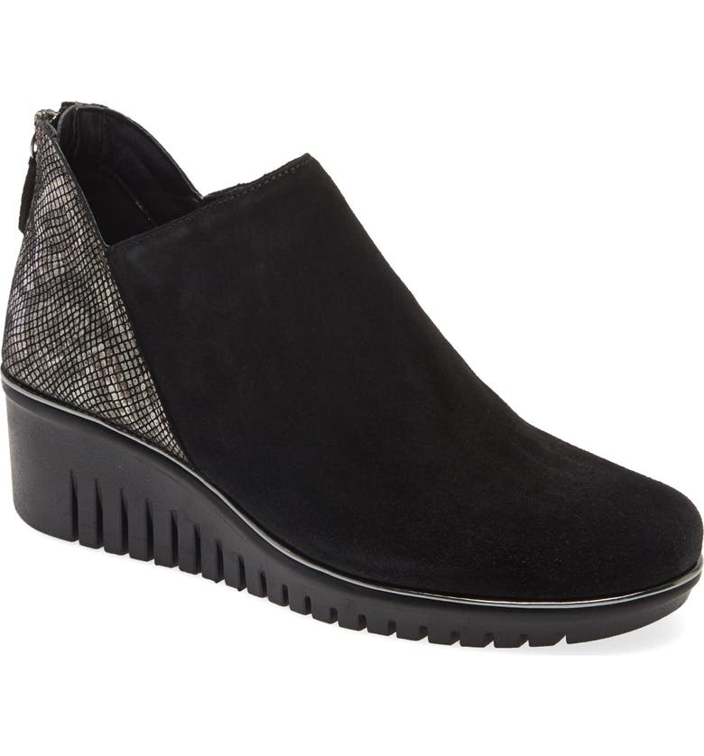 THE FLEXX Milky Way Wedge Bootie, Main, color, BLACK/ GUNMETAL SUEDE
