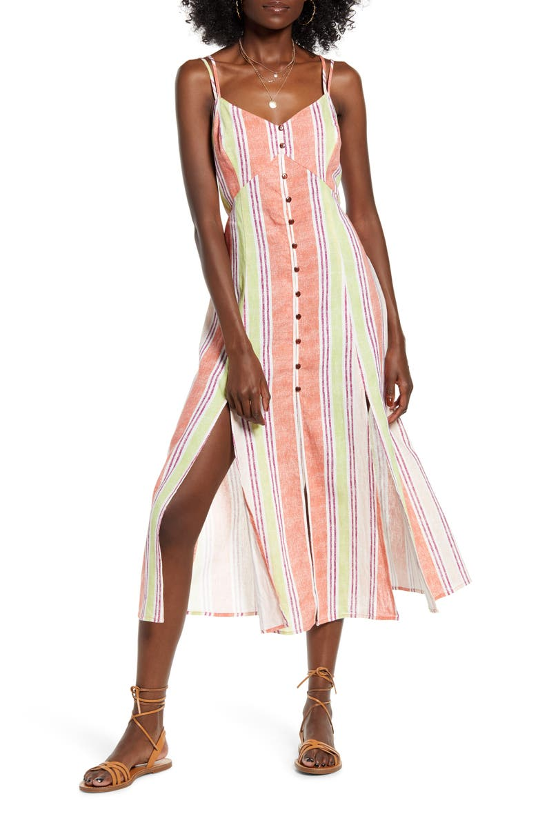 BAND OF GYPSIES Wisteria Linen Blend Midi Dress, Main, color, 950