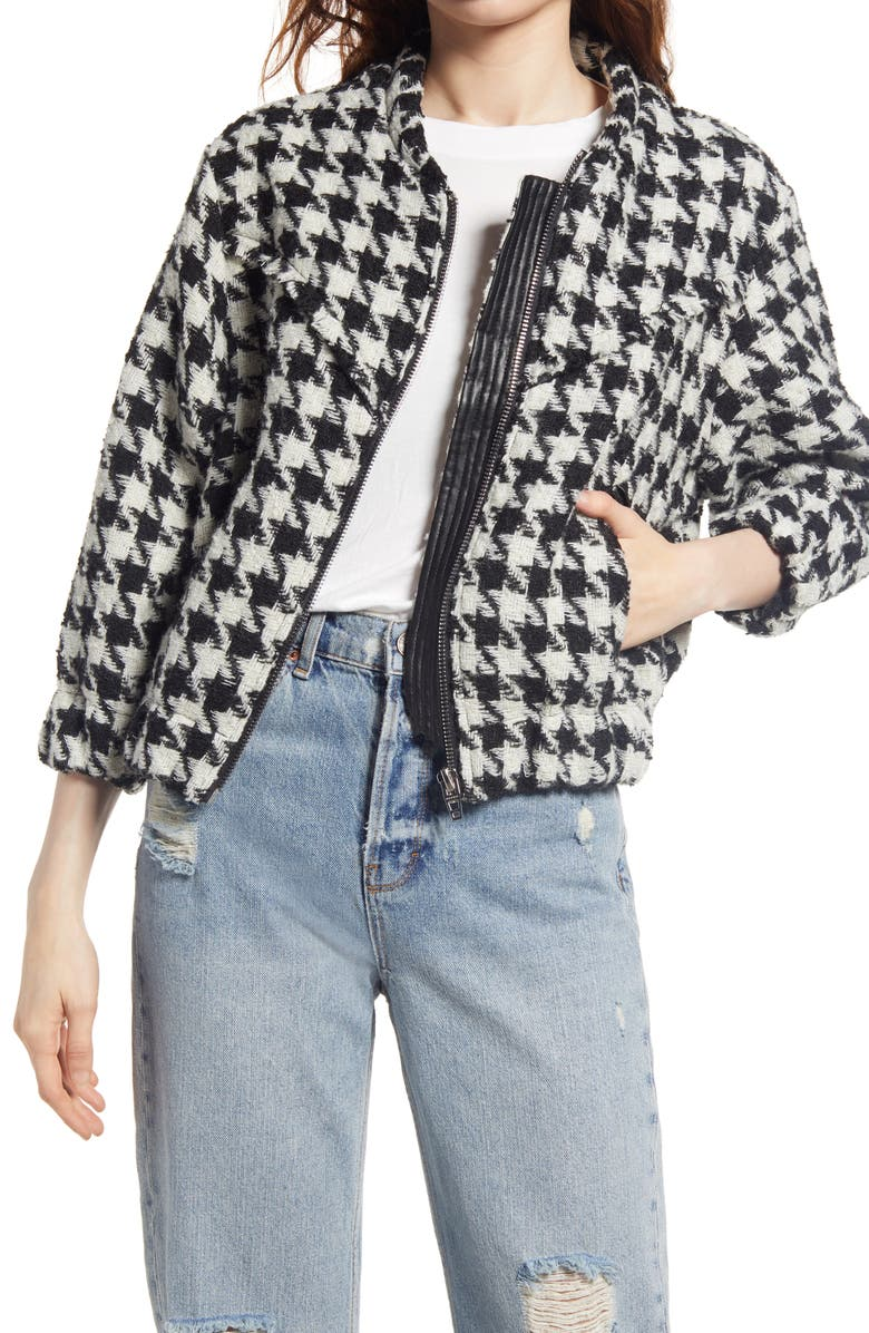 BLANKNYC Houndstooth Tweed Bomber Jacket, Main, color, YOUR OWN BEAT