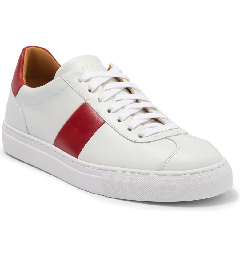 MAGNANNI Elias Leather Sneaker, Main, color, WHITE / RED