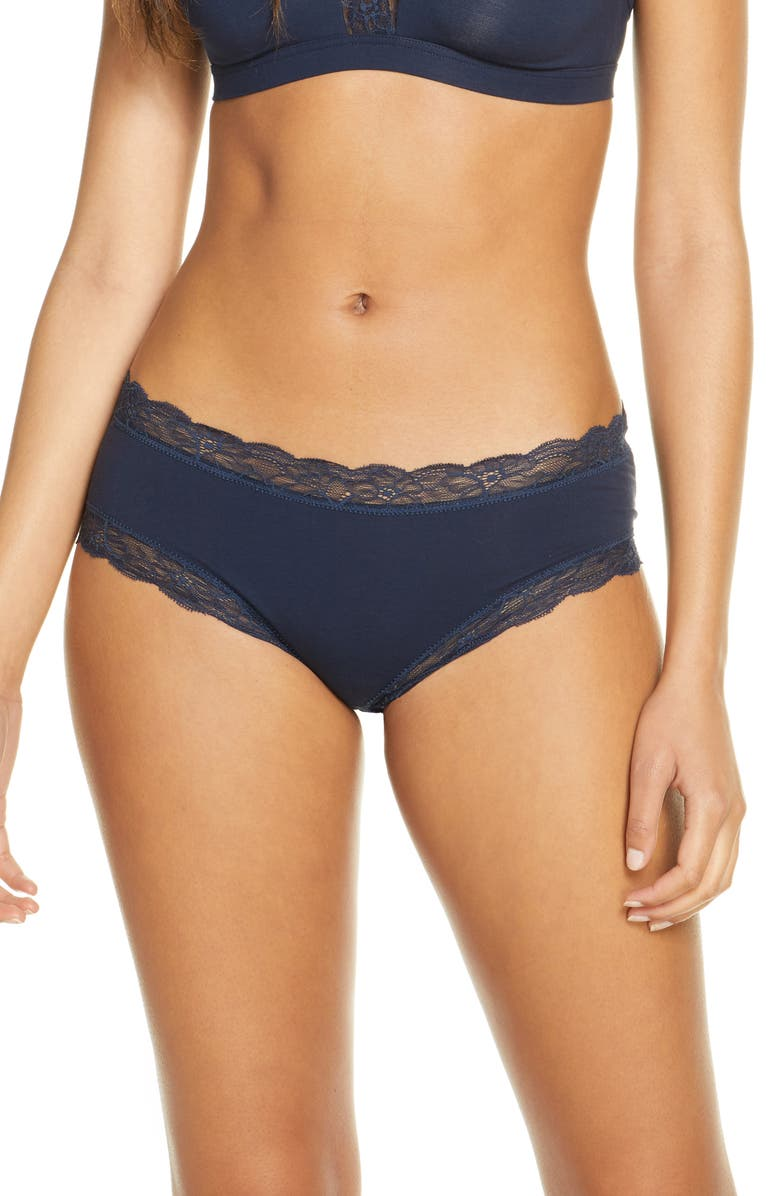 HANRO Cotton Lace Hipster Briefs, Main, color, DEEP NAVY 1610