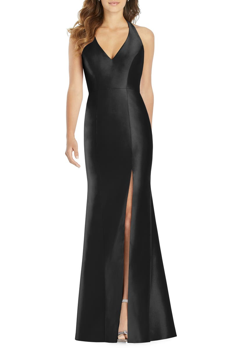 ALFRED SUNG Halter Satin Trumpet Gown, Main, color, BLACK