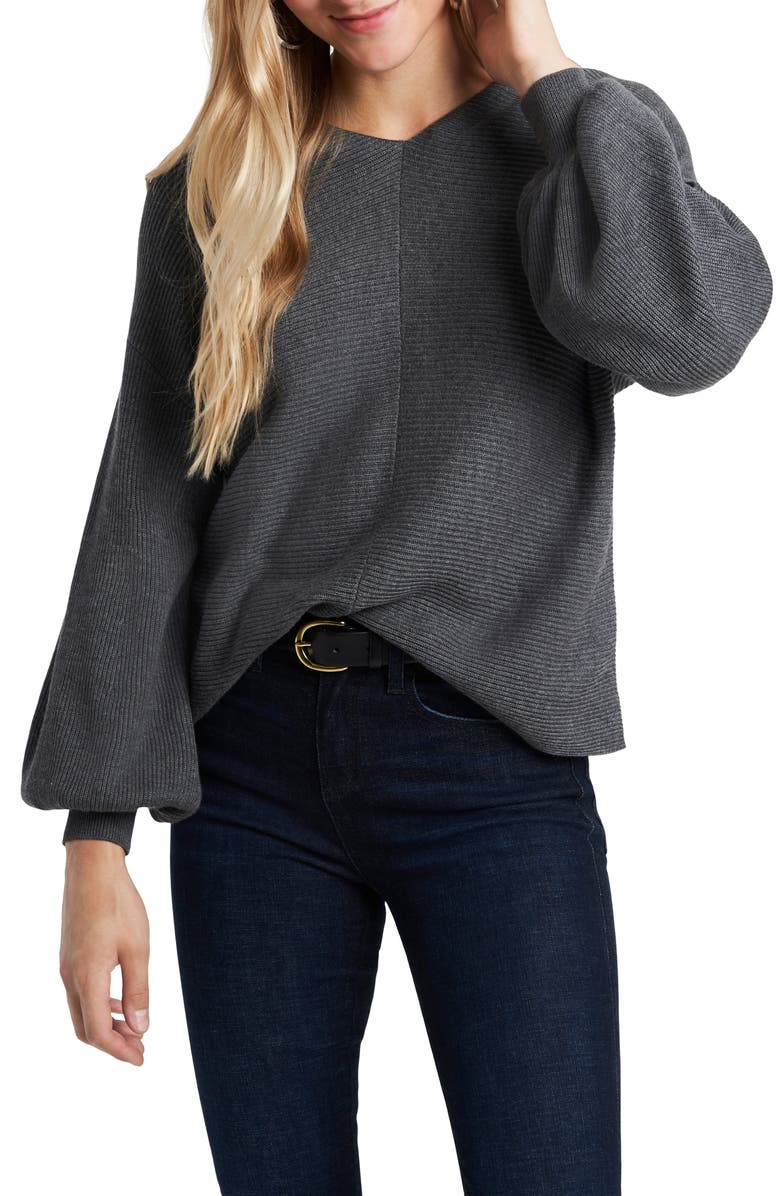 1.STATE Ribbed Balloon Sleeve Cotton Blend Sweater, Main, color, MEDIUM HEATHER GREY