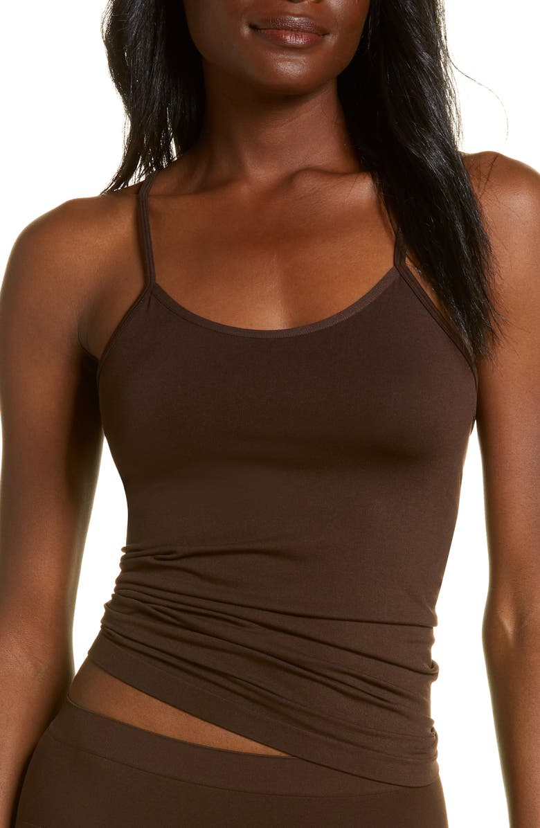 NORDSTROM Bare Scoop Front Camisole, Main, color, BROWN COFFEE