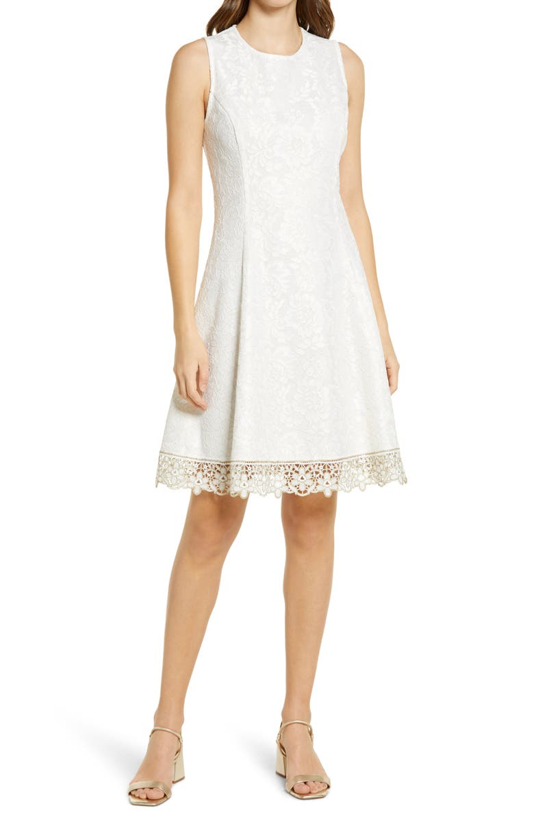 DONNA RICCO Sleeveless Lace Fit & Flare Dress, Main, color, IVORY/GOLD