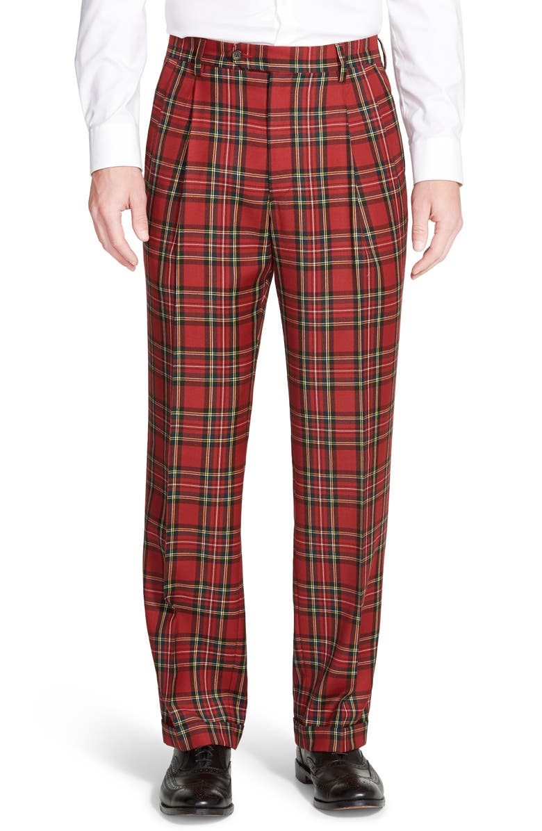 BERLE Touch Finish Pleated Classic Fit Plaid Wool Trousers, Main, color, RED