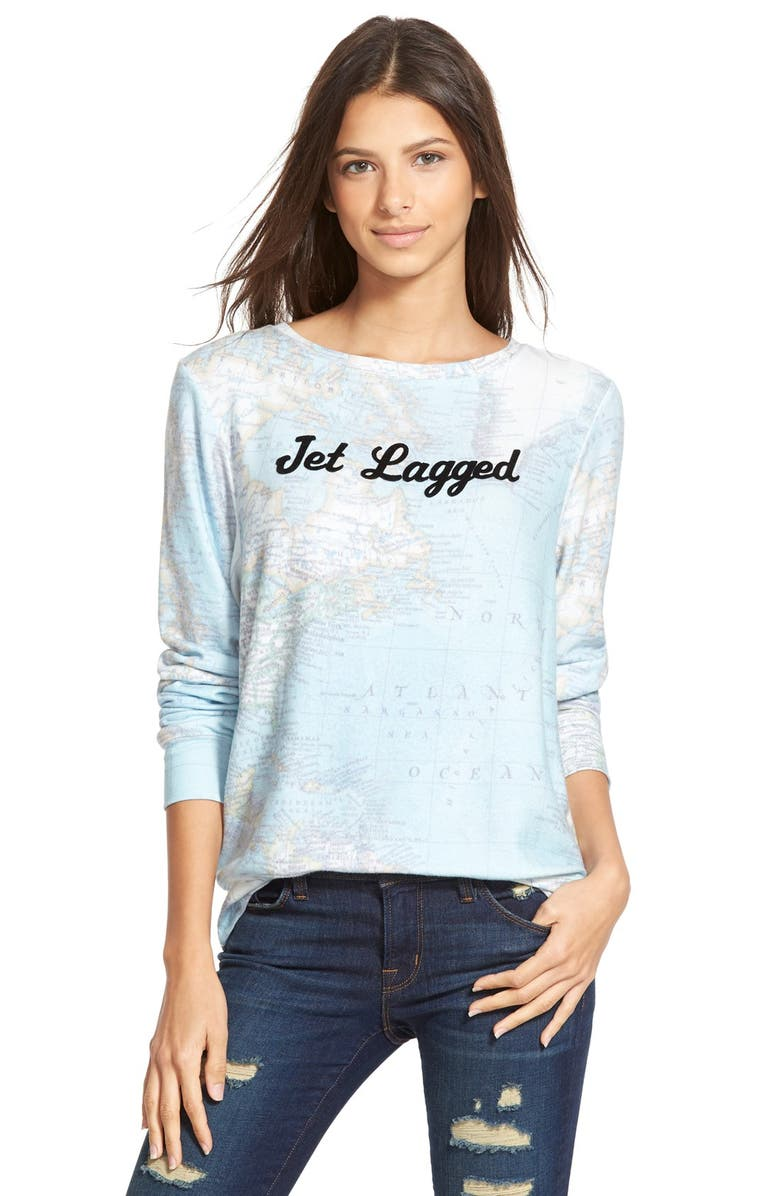 WILDFOX 'Baggy Beach Jumper - Jet Lagged' Pullover, Main, color, MULTI