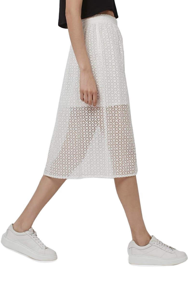 TOPSHOP Floral Embroidered Organza Midi Skirt, Main, color, White