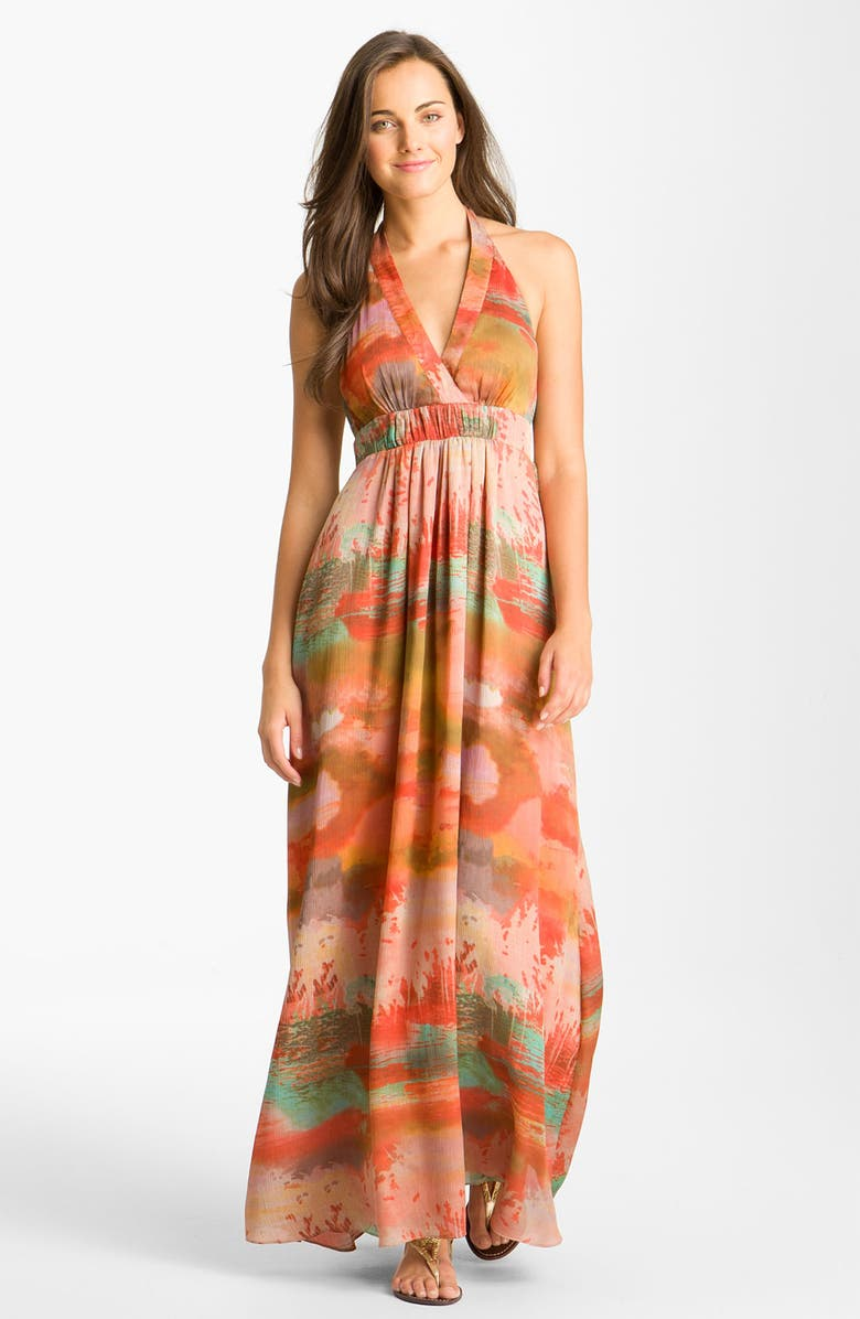 JESSICA SIMPSON Print Halter Crêpe de Chine Maxi Dress, Main, color, 801